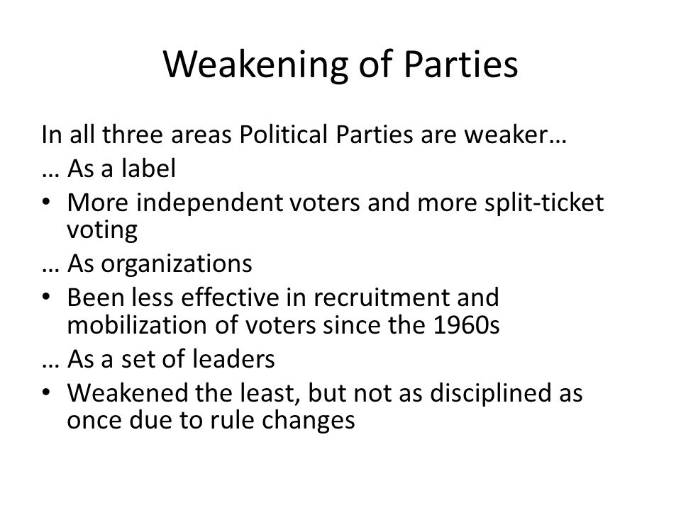 Weakening of Parties In all three areas Political Parties are weaker… … As a label More independent voters and more split-ticket voting … As organizat