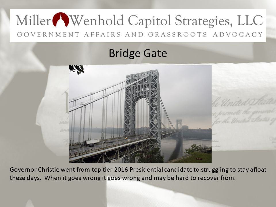 Bridge Gate Governor Christie went from top tier 2016 Presidential candidate to struggling to stay afloat these days.
