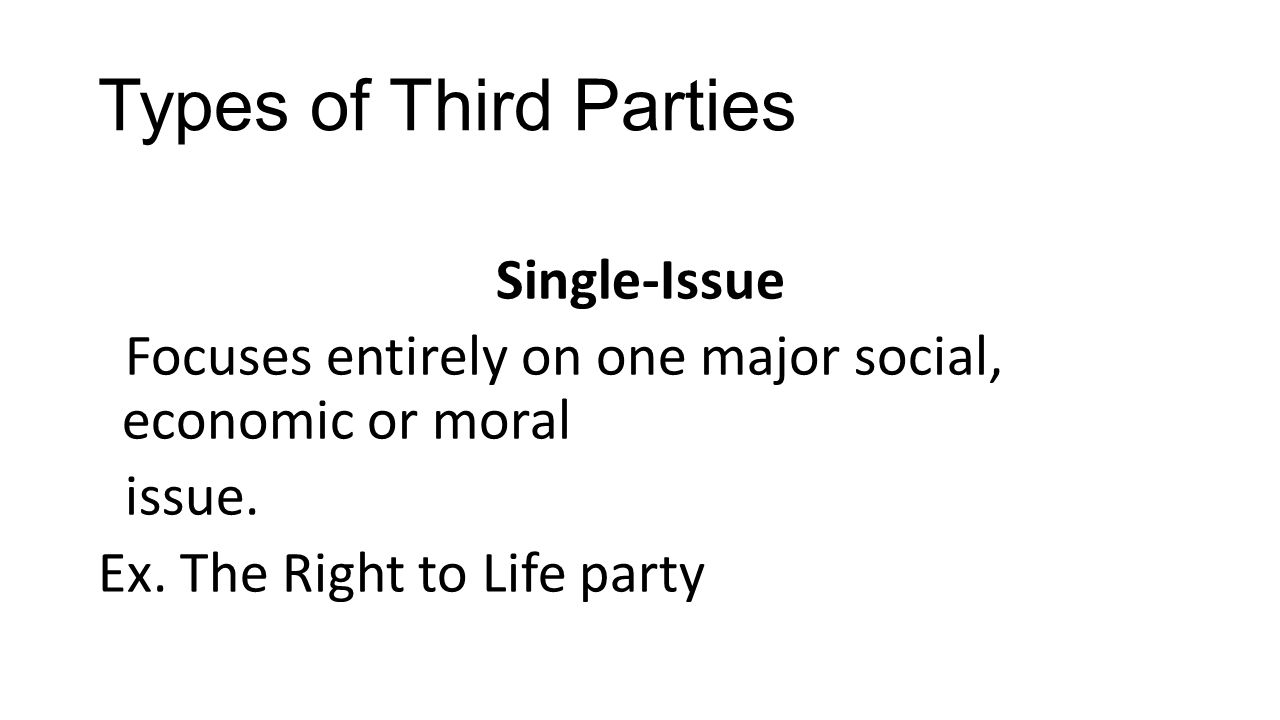 Types of Third Parties Single-Issue Focuses entirely on one major social, economic or moral issue. Ex. The Right to Life party