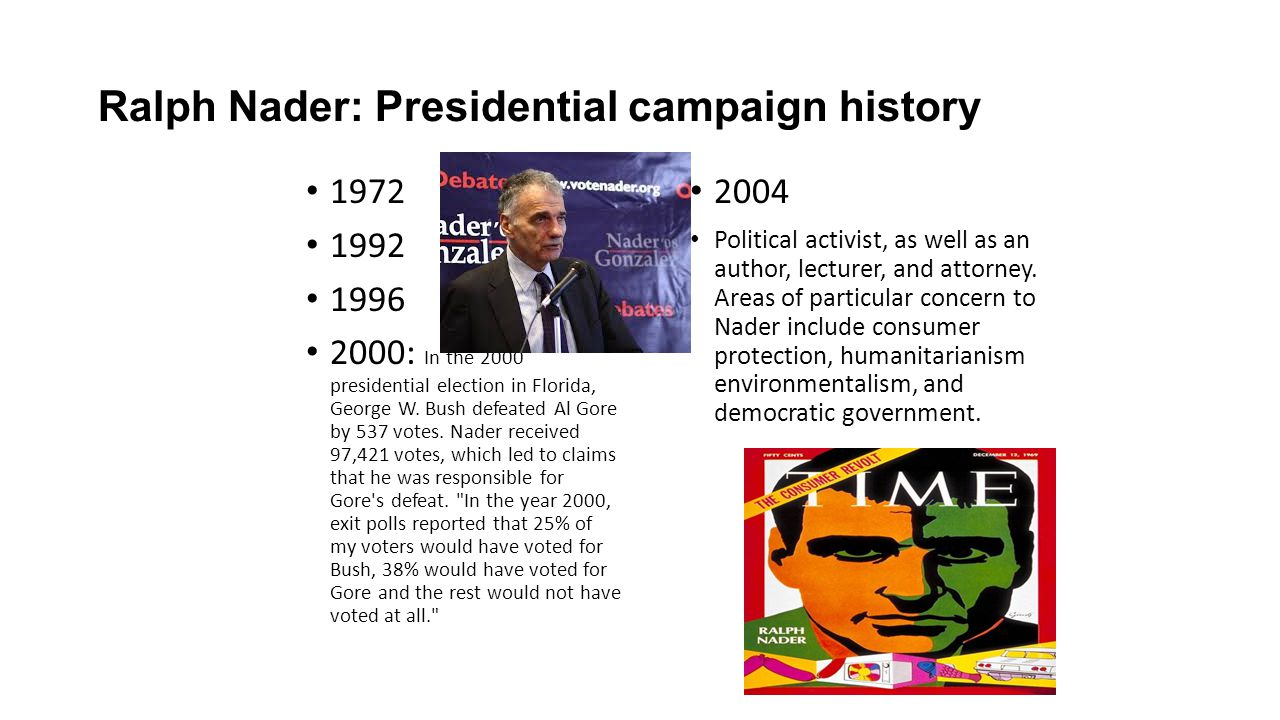 Ralph Nader: Presidential campaign history 1972 1992 1996 2000: In the 2000 presidential election in Florida, George W. Bush defeated Al Gore by 537 v