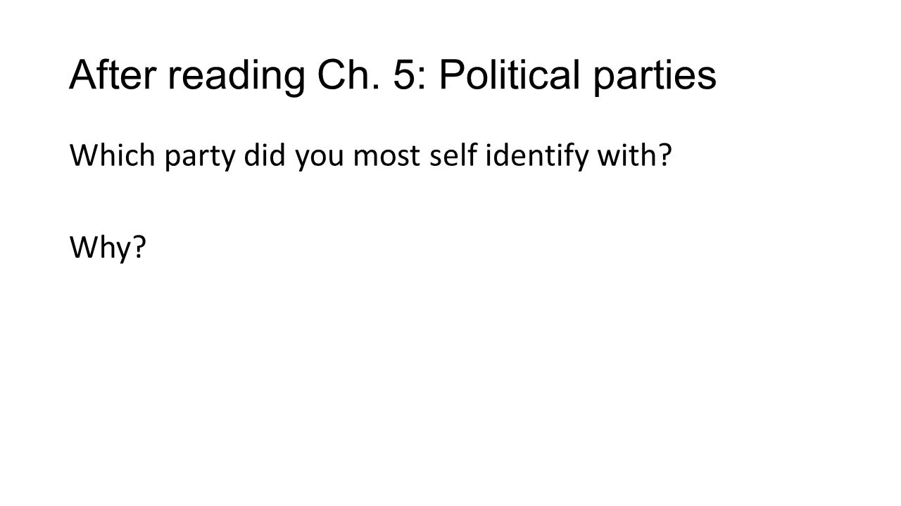 After reading Ch. 5: Political parties Which party did you most self identify with Why