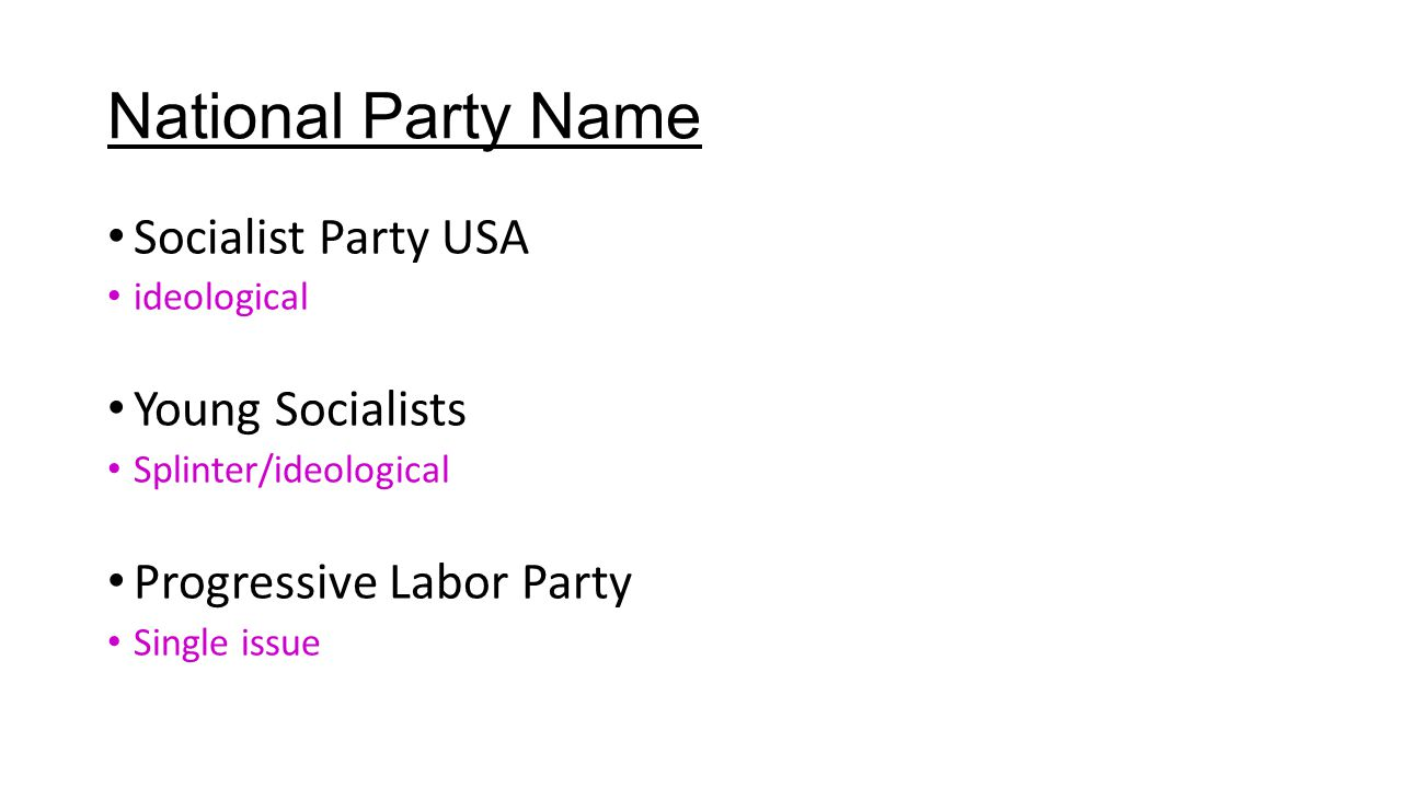 National Party Name Socialist Party USA ideological Young Socialists Splinter/ideological Progressive Labor Party Single issue