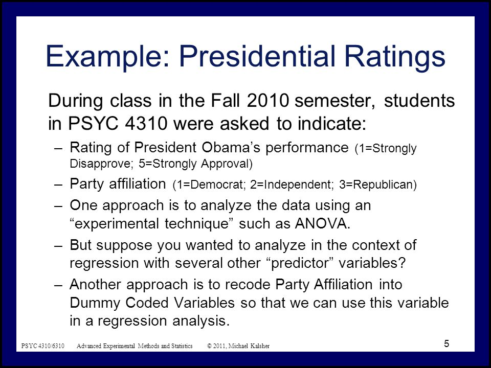 PSYC 4310/6310 Advanced Experimental Methods and Statistics © 2011, Michael Kalsher 6 President's performance ratings as a function of party affiliation.