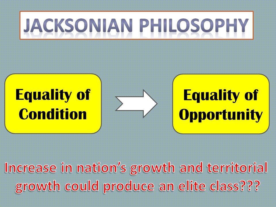 Emphasis on Opportunity Defend the Union Rallied behind Jackson Economic Union Fearful of rapid Territorial growth Embraced industry as the future of the country Loyalties divided among the Great Triumvirate Supported Jackson's choice, Martin Van Buren, in the 1836 election Anti-Masons