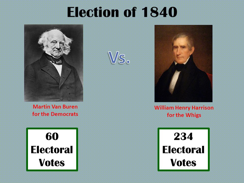 Election of 1840 Martin Van Buren for the Democrats William Henry Harrison for the Whigs Log Cabin Campaign Whigs were more united Democrats had no answer to these campaign strategies