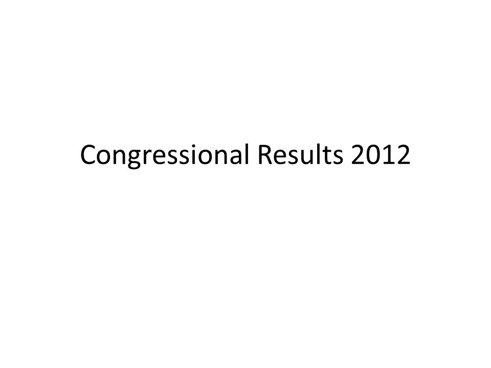 Congressional Results 2012