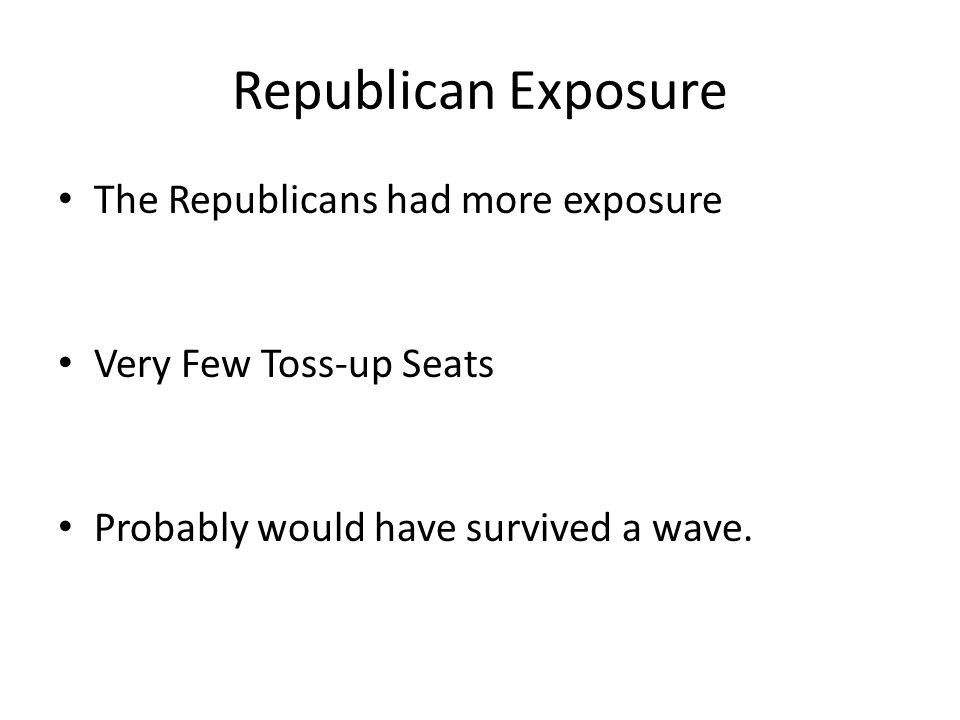 Republican Exposure The Republicans had more exposure Very Few Toss-up Seats Probably would have survived a wave.