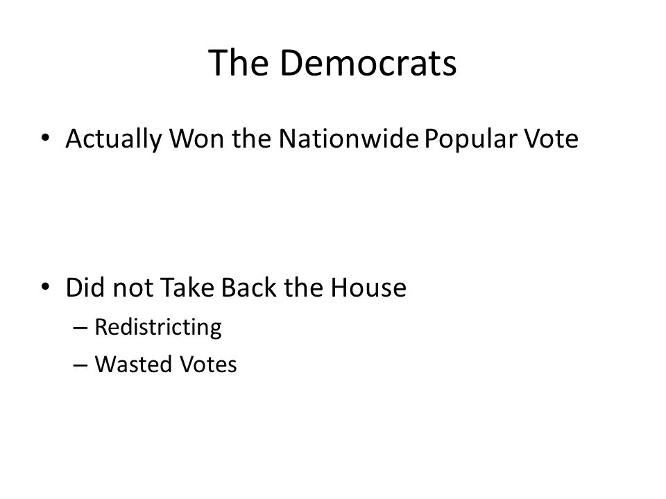 The Democrats Actually Won the Nationwide Popular Vote Did not Take Back the House – Redistricting – Wasted Votes