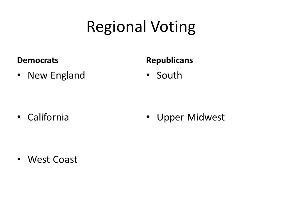 Regional Voting Democrats New England California West Coast Republicans South Upper Midwest