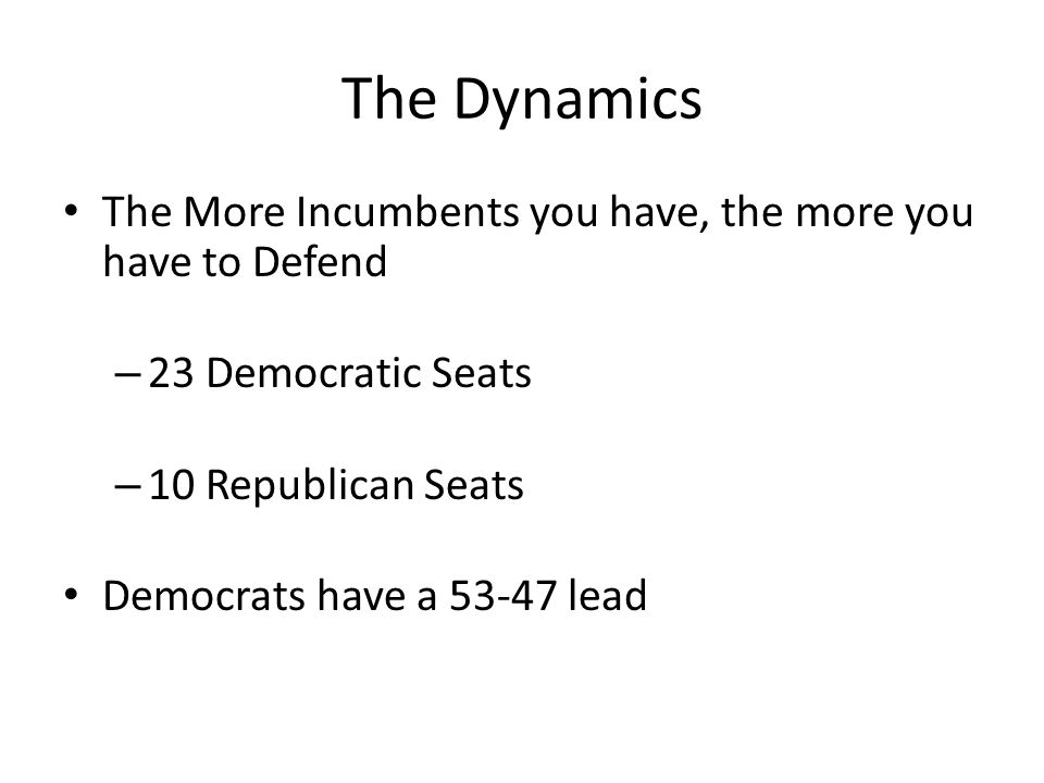 The Dynamics The More Incumbents you have, the more you have to Defend – 23 Democratic Seats – 10 Republican Seats Democrats have a 53-47 lead