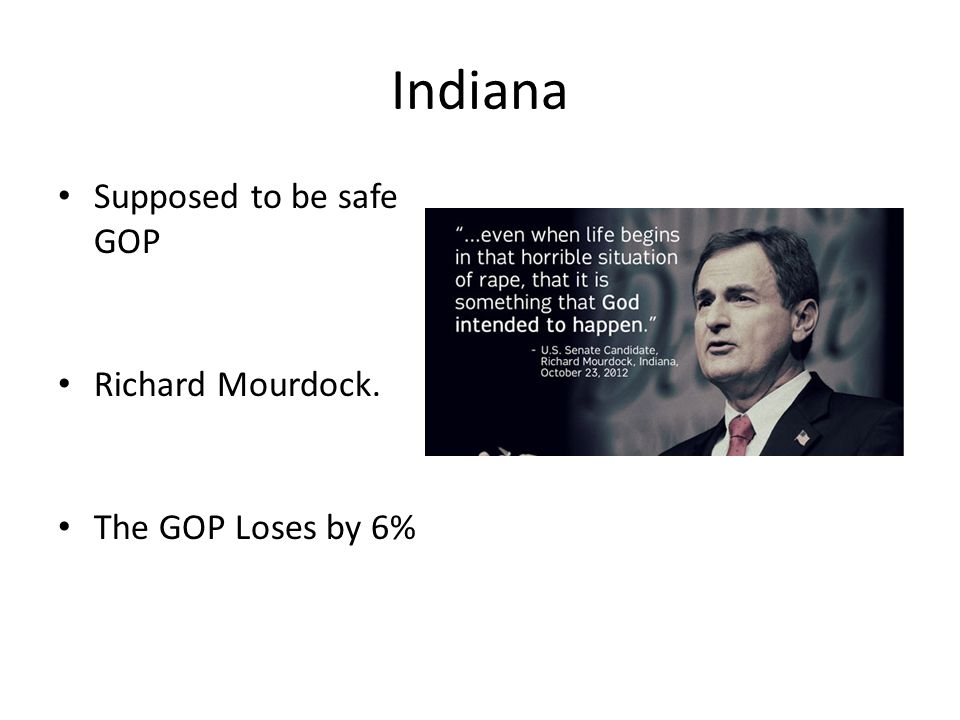 Indiana Supposed to be safe GOP Richard Mourdock. The GOP Loses by 6%