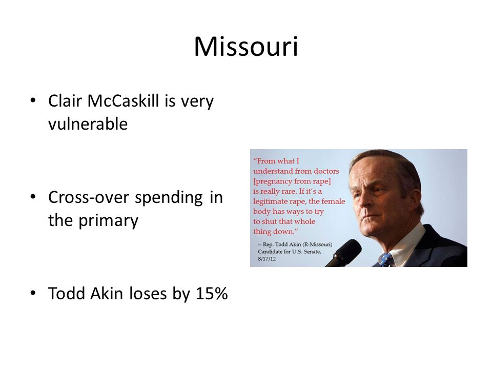 Missouri Clair McCaskill is very vulnerable Cross-over spending in the primary Todd Akin loses by 15%