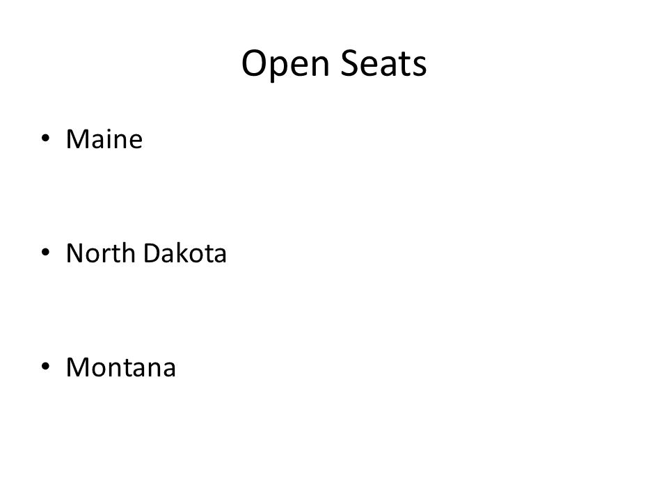 Open Seats Maine North Dakota Montana