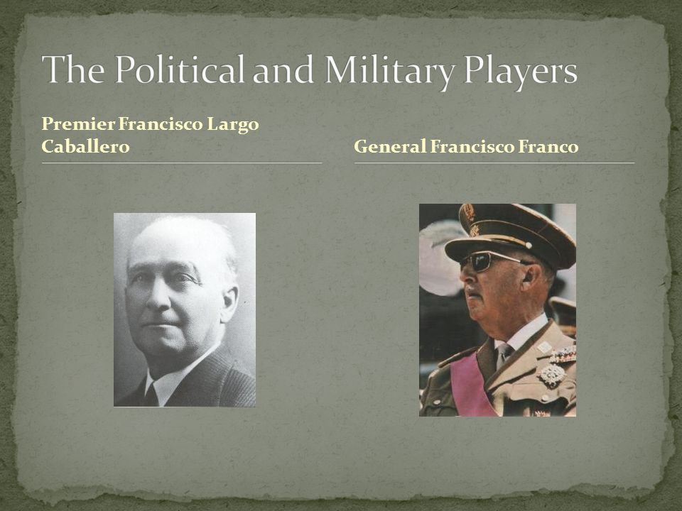 Premier Francisco Largo CaballeroGeneral Francisco Franco