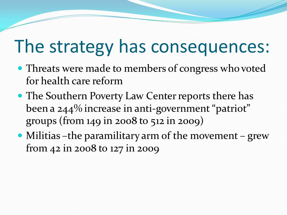 The strategy has consequences: Threats were made to members of congress who voted for health care reform The Southern Poverty Law Center reports there