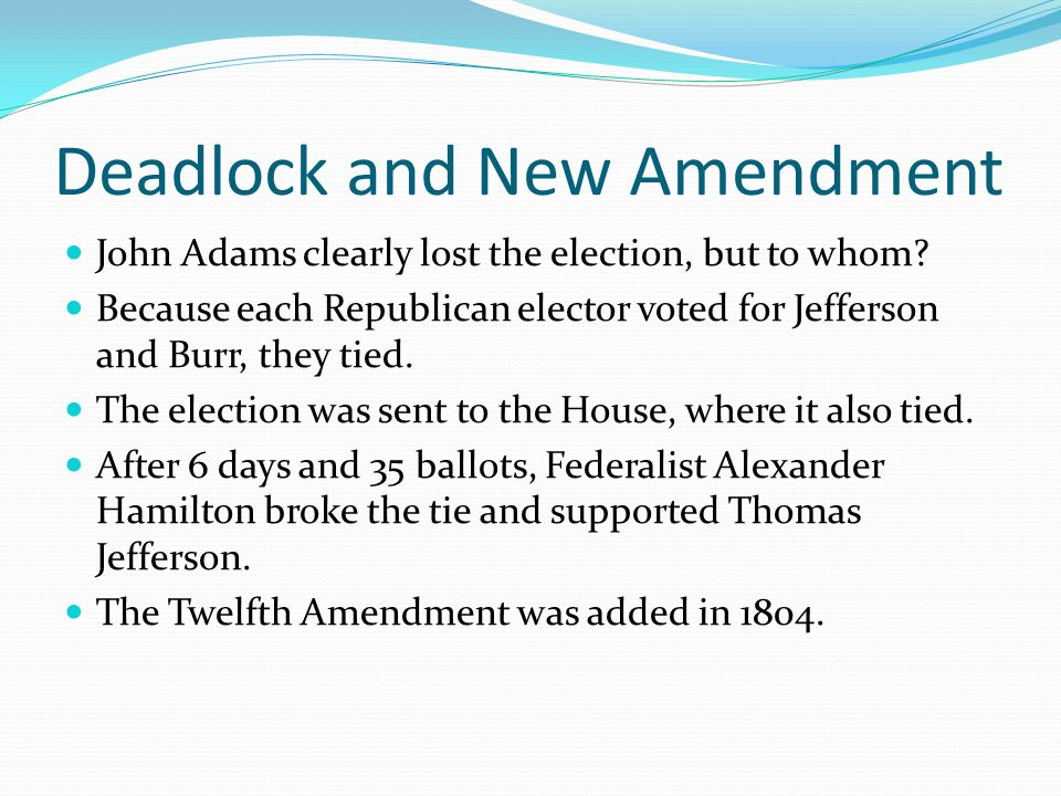 Deadlock and New Amendment John Adams clearly lost the election, but to whom.