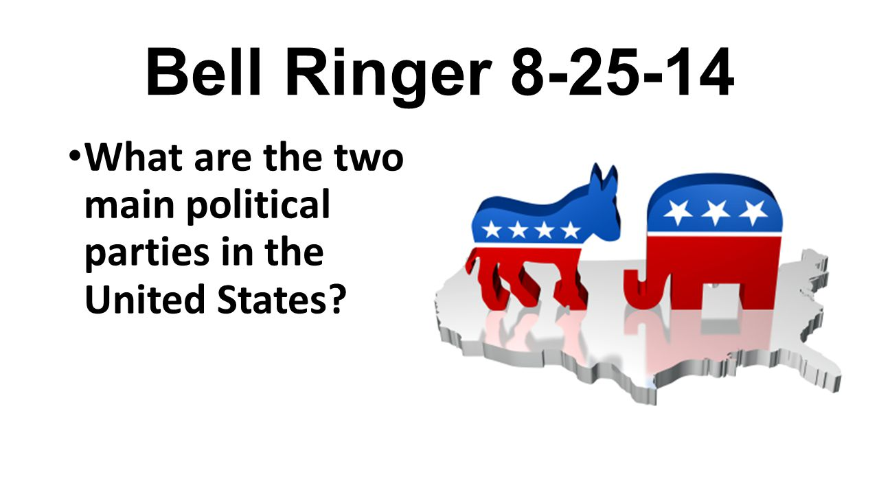 Bell Ringer 8-25-14 What are the two main political parties in the United States?