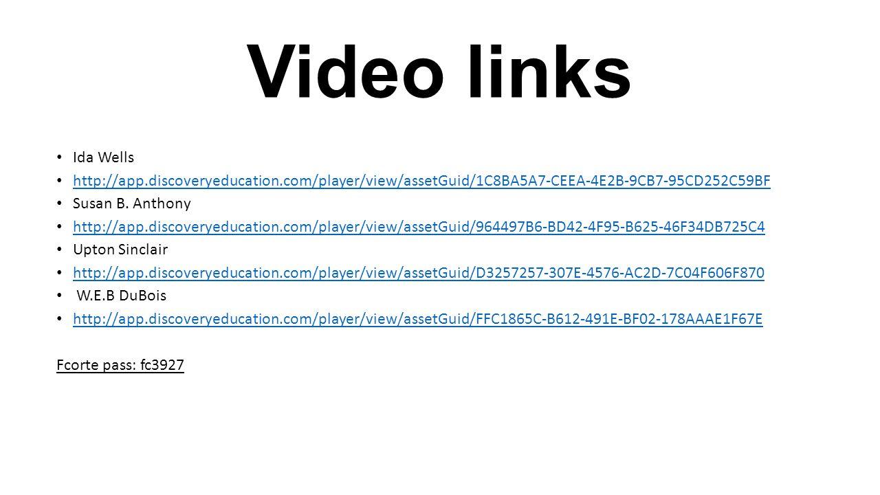 Video links Ida Wells http://app.discoveryeducation.com/player/view/assetGuid/1C8BA5A7-CEEA-4E2B-9CB7-95CD252C59BF Susan B. Anthony http://app.discove