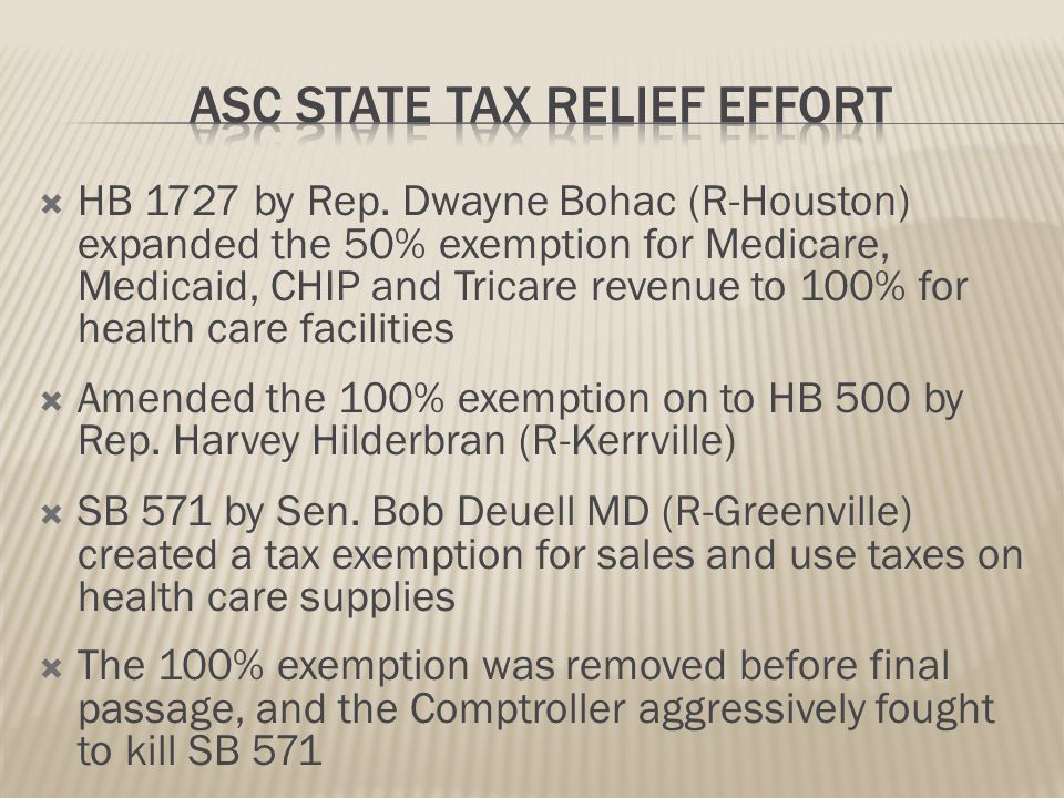 Revenue and Supplies Exemptions