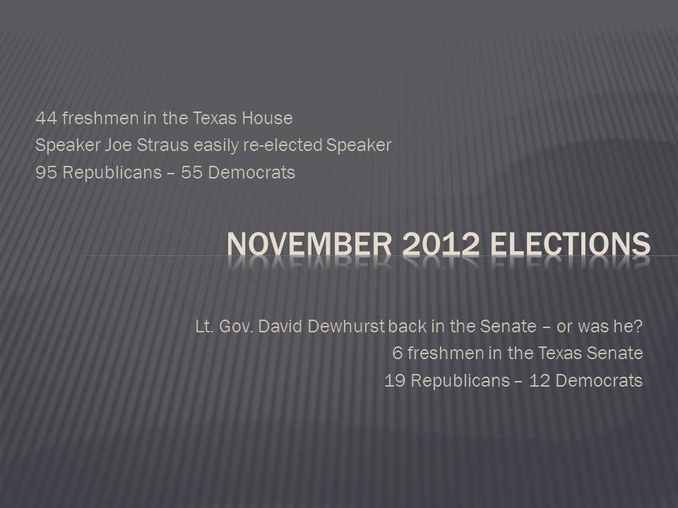 44 freshmen in the Texas House Speaker Joe Straus easily re-elected Speaker 95 Republicans – 55 Democrats Lt.