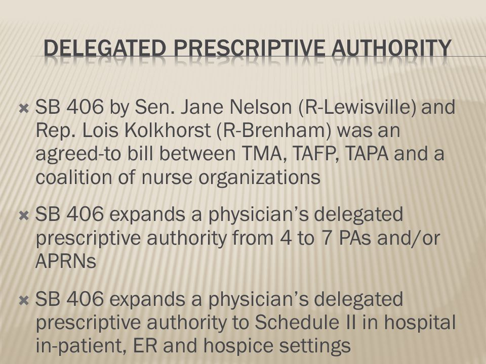Expanded Delegated Prescriptive Authority for Physicians And Identification Badges