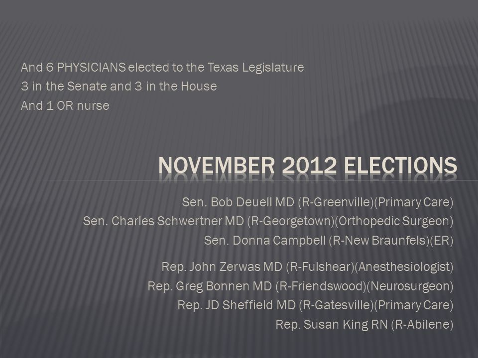 And 6 PHYSICIANS elected to the Texas Legislature 3 in the Senate and 3 in the House And 1 OR nurse Sen.