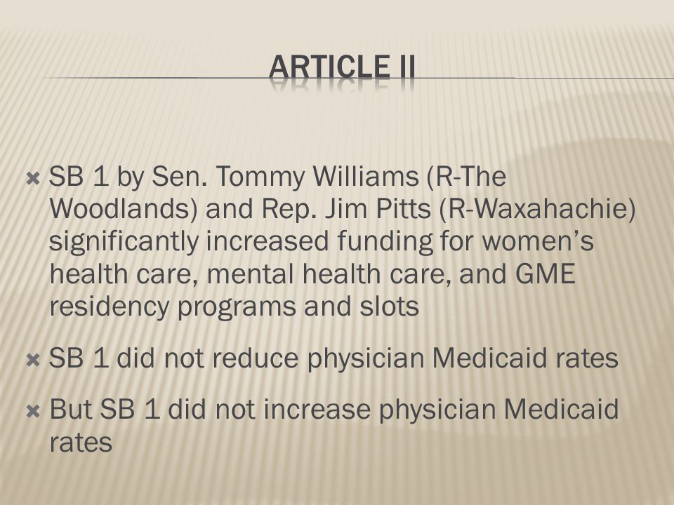 SB 1 budget numbers 2014 – 2015 biennium  All Funds (state/federal) = $196,951,273,067  Article II (health and human services) = $73,904,937,403  Article II = 37.5% of total budget