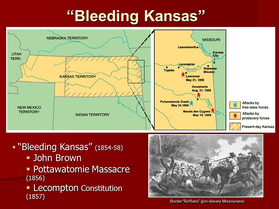 """Bleeding Kansas"" Border ""Ruffians"" (pro-slavery Missourians)  ""Bleeding Kansas"" (1854-58)  John Brown  Pottawatomie Massacre (1856)  Lecompton Co"