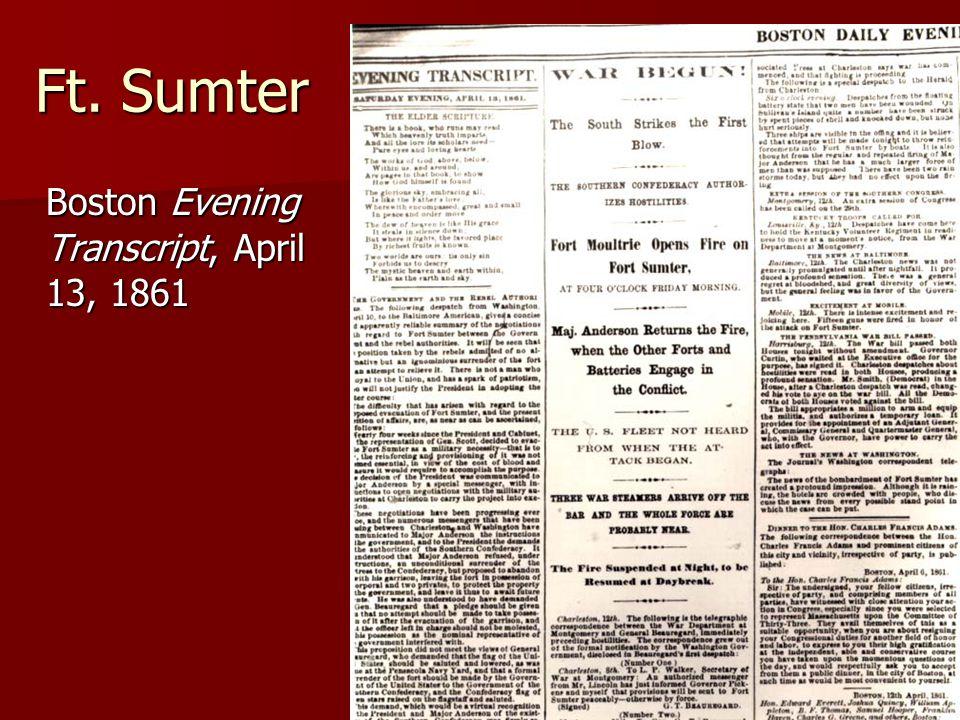 Ft. Sumter Boston Evening Transcript, April 13, 1861