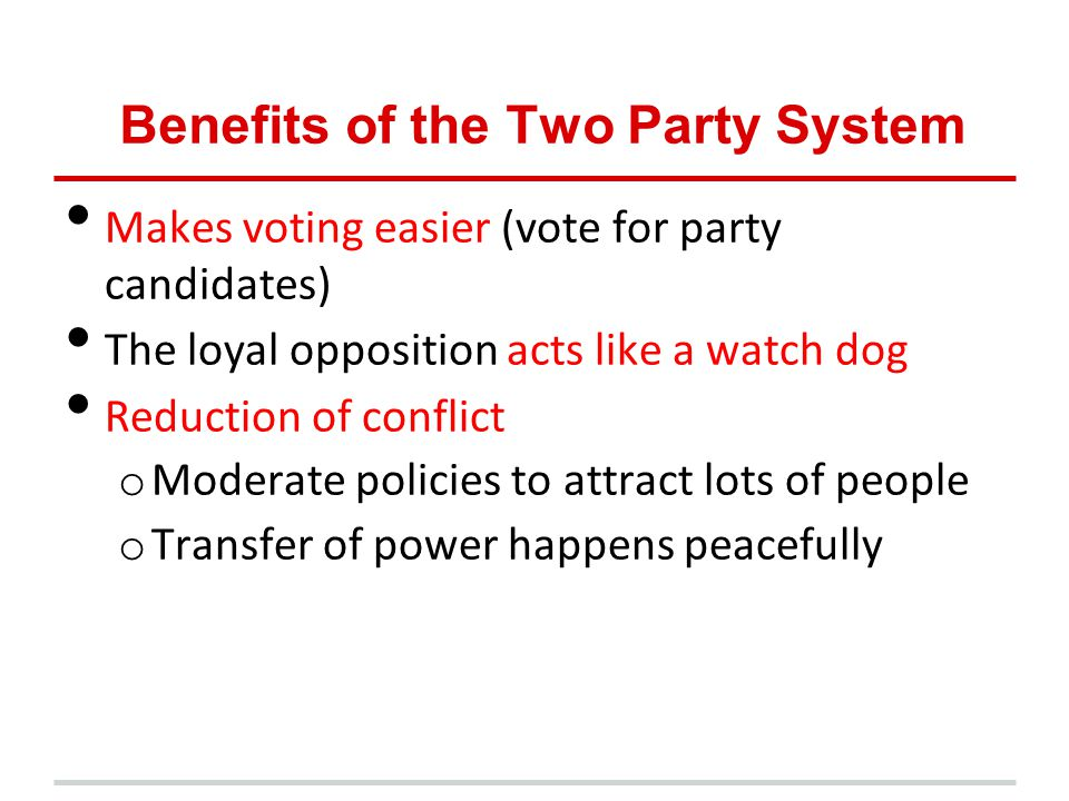 Benefits of the Two Party System Makes voting easier (vote for party candidates) The loyal opposition acts like a watch dog Reduction of conflict o Moderate policies to attract lots of people o Transfer of power happens peacefully