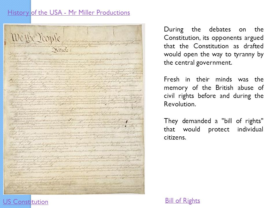 What was the purpose of the bill of rights?