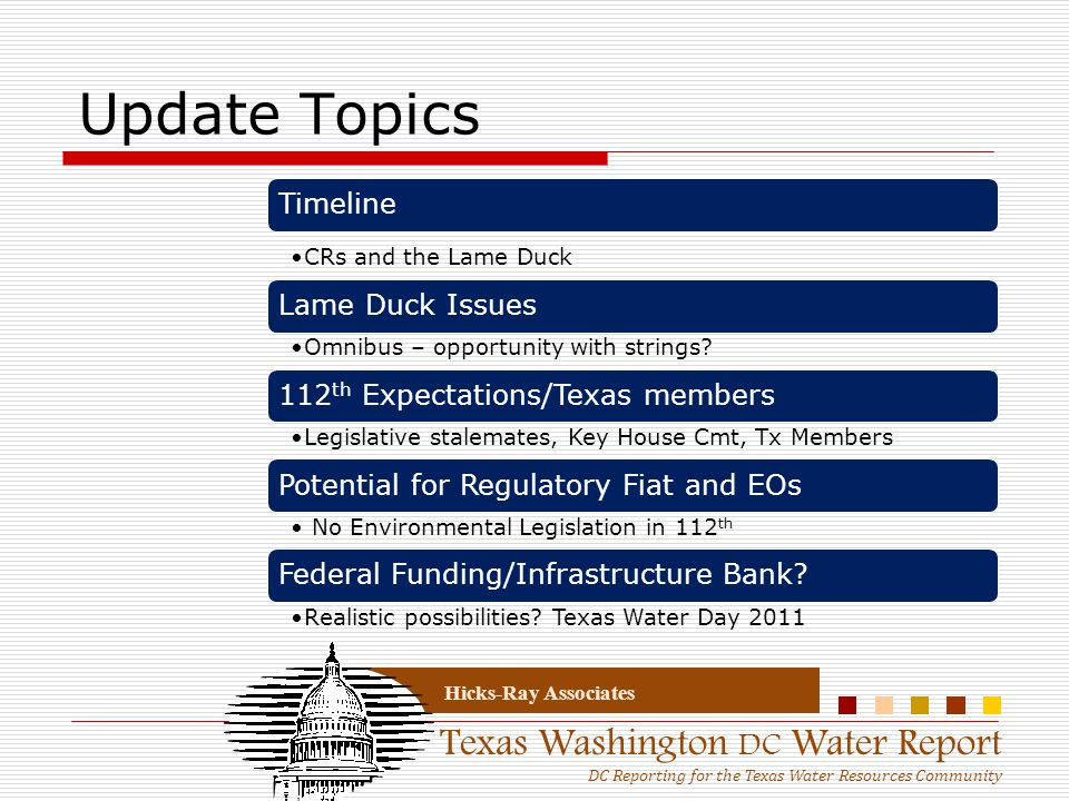 Texas Washington DC Water Report DC Reporting for the Texas Water Resources Community Hicks-Ray Associates Update Topics Timeline CRs and the Lame Duc