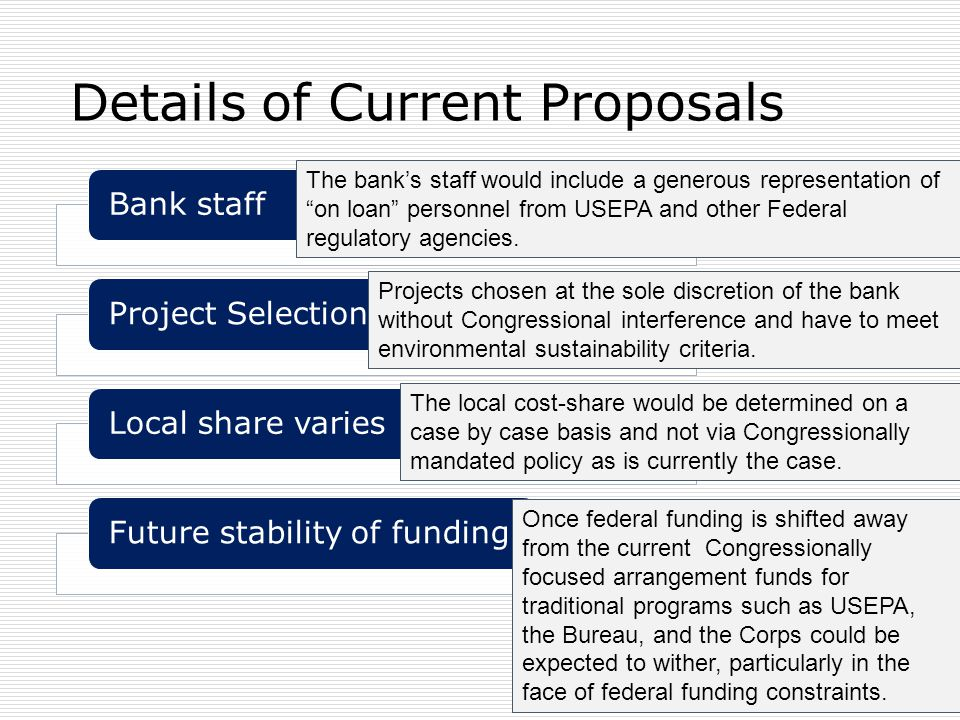 Details of Current Proposals Bank staffProject SelectionLocal share variesFuture stability of funding The bank's staff would include a generous repres