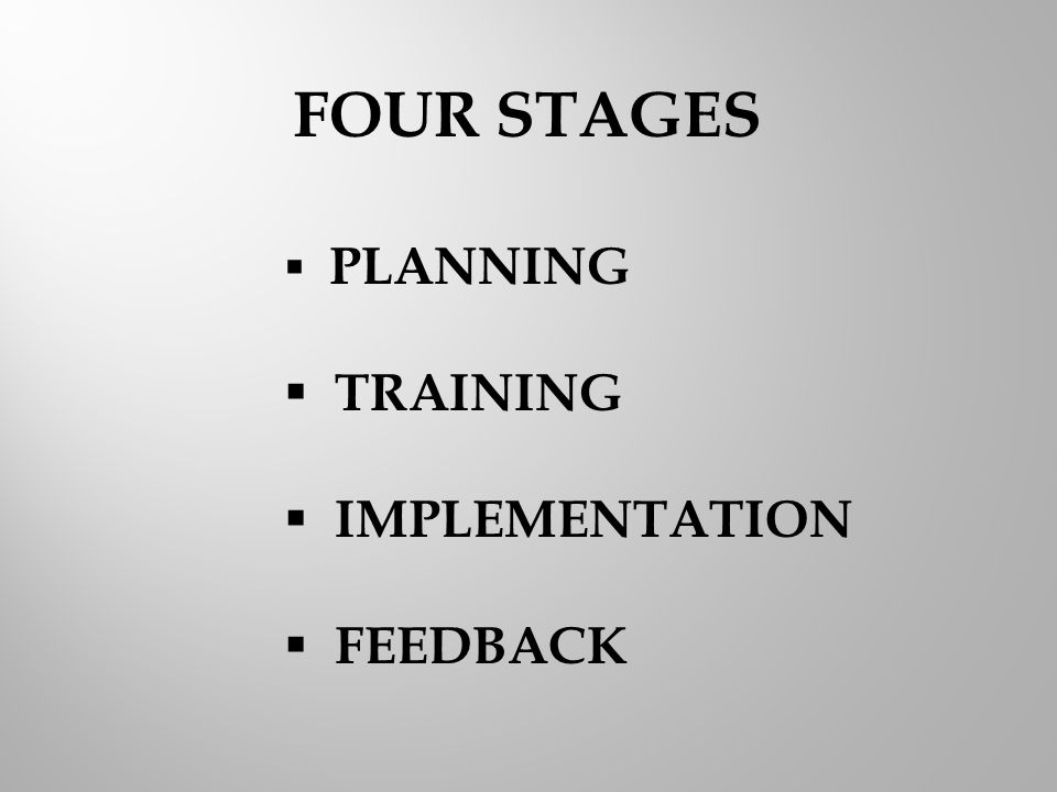  PLANNING  TRAINING  IMPLEMENTATION  FEEDBACK FOUR STAGES