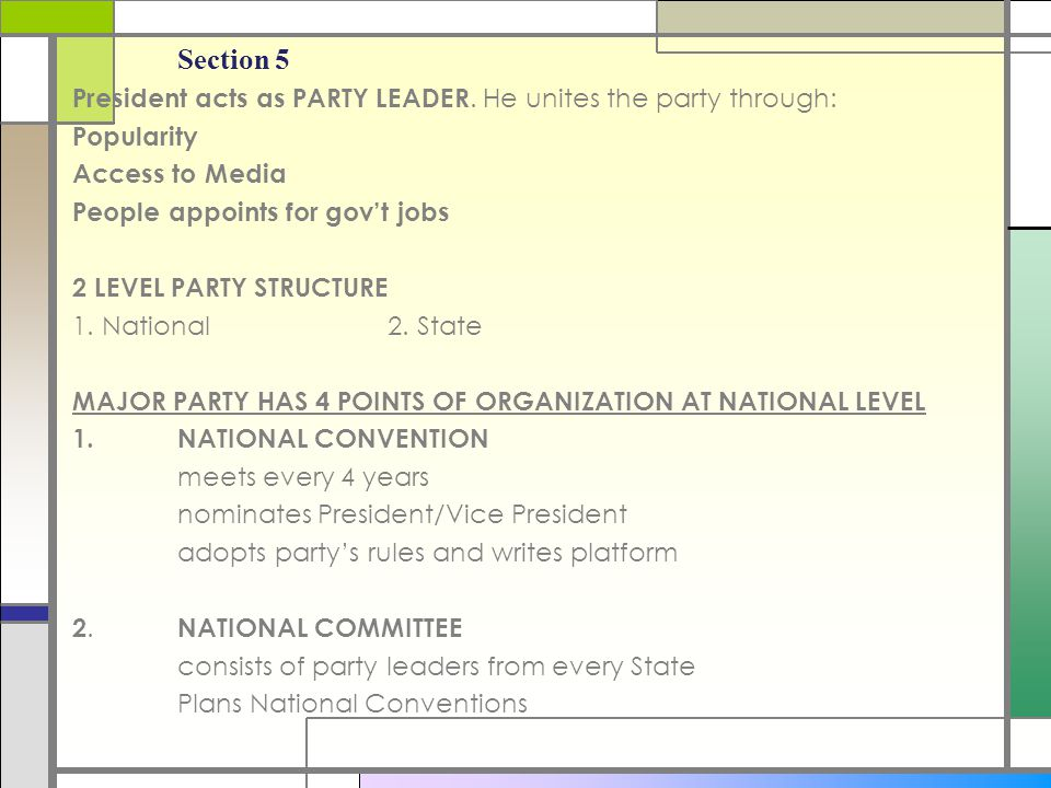 Section 5 MAJOR PARTY HAS 4 POINTS OF ORGANIZATION AT NATIONAL LEVEL 3.NATIONAL CHAIRPERSON appointed by party's nominee for President Heads National Committee 4.CONGRESSIONAL CAMPAIGN COMMITTEES - Pg.