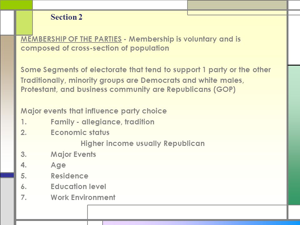 Section 2 MEMBERSHIP OF THE PARTIES - Membership is voluntary and is composed of cross-section of population Some Segments of electorate that tend to