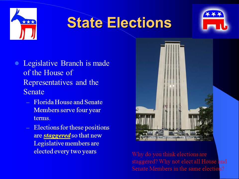 State Elections Legislative Branch is made of the House of Representatives and the Senate – Florida House and Senate Members serve four year terms.