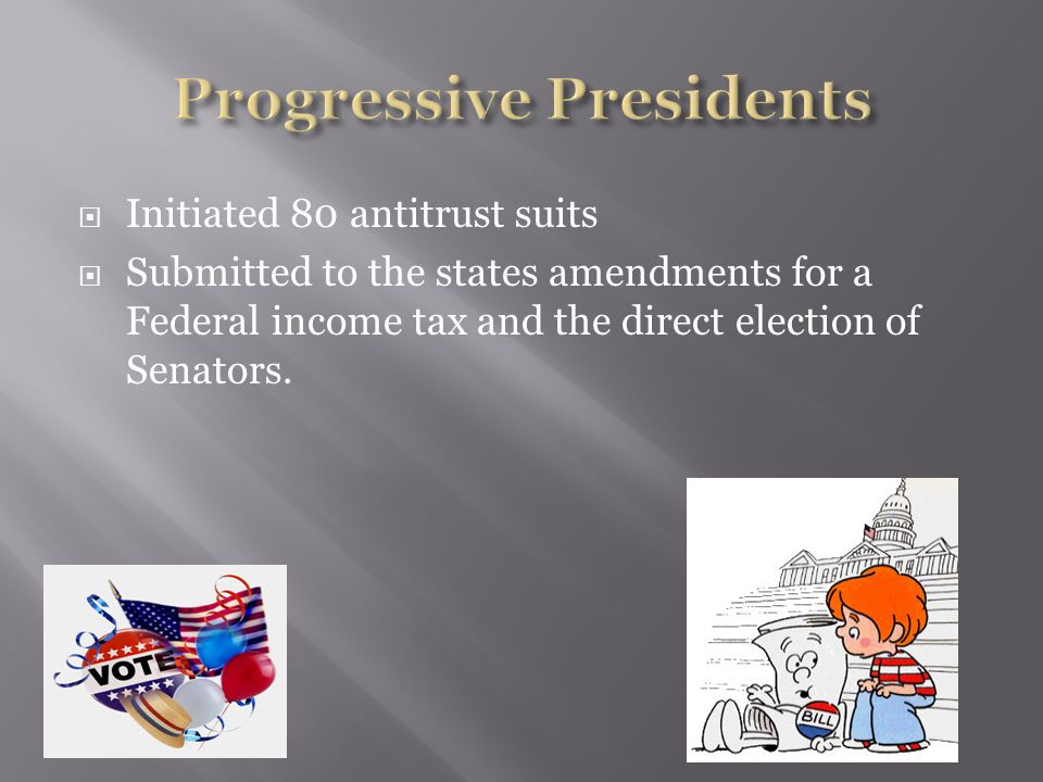 William H Taft  Republican  Promised to continue TR's ideas Slowed the progressive reforms.