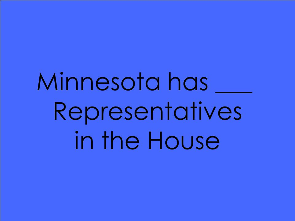 Minnesota has ___ Representatives in the House