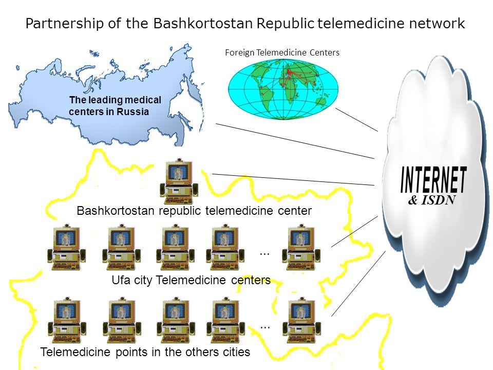 The leading medical centers in Russia Foreign Telemedicine Centers Bashkortostan republic telemedicine center Telemedicine points in the others cities Partnership of the Bashkortostan Republic telemedicine network & ISDN...