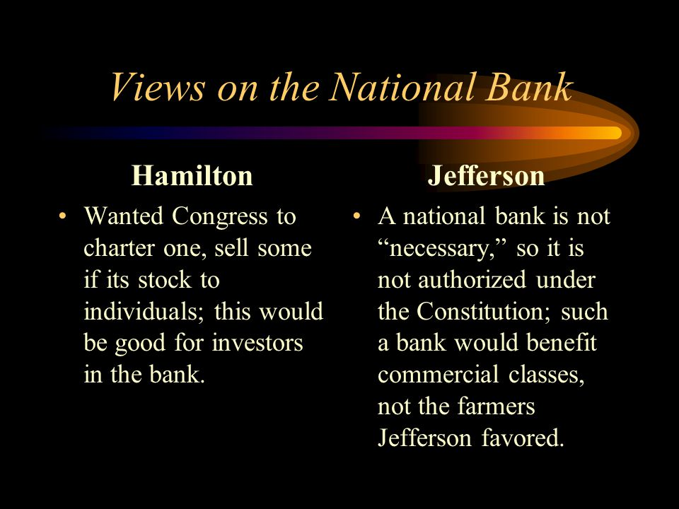 Views on the National Bank Hamilton Wanted Congress to charter one, sell some if its stock to individuals; this would be good for investors in the bank.