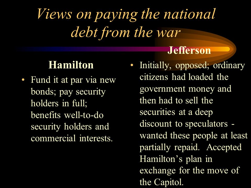 Views on paying the national debt from the war Hamilton Fund it at par via new bonds; pay security holders in full; benefits well-to-do security holders and commercial interests.