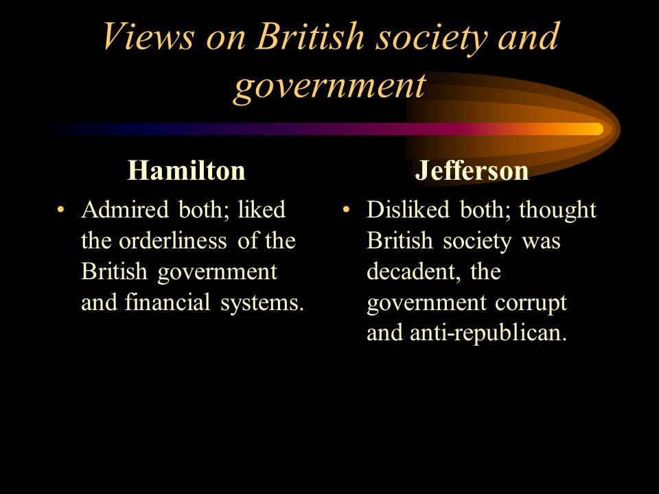Views on British society and government Hamilton Admired both; liked the orderliness of the British government and financial systems.