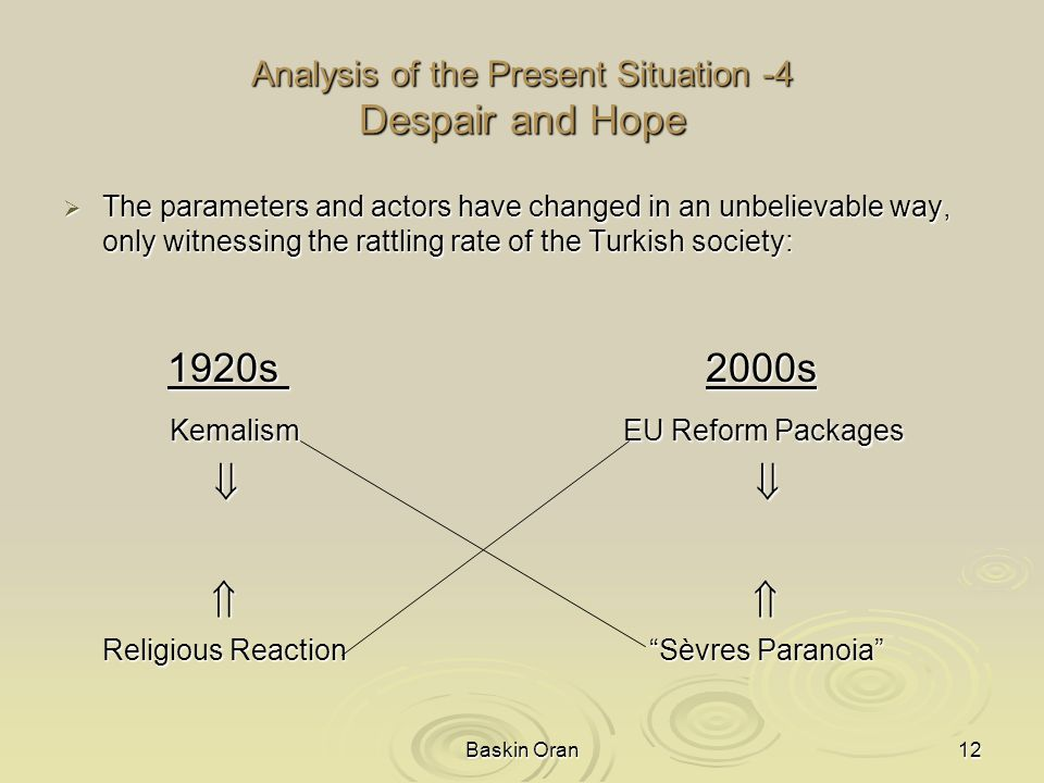 Baskin Oran12 Analysis of the Present Situation -4 Despair and Hope  The parameters and actors have changed in an unbelievable way, only witnessing the rattling rate of the Turkish society: 1920s 2000s Kemalism EU Reform Packages Kemalism EU Reform Packages         Religious Reaction Sèvres Paranoia