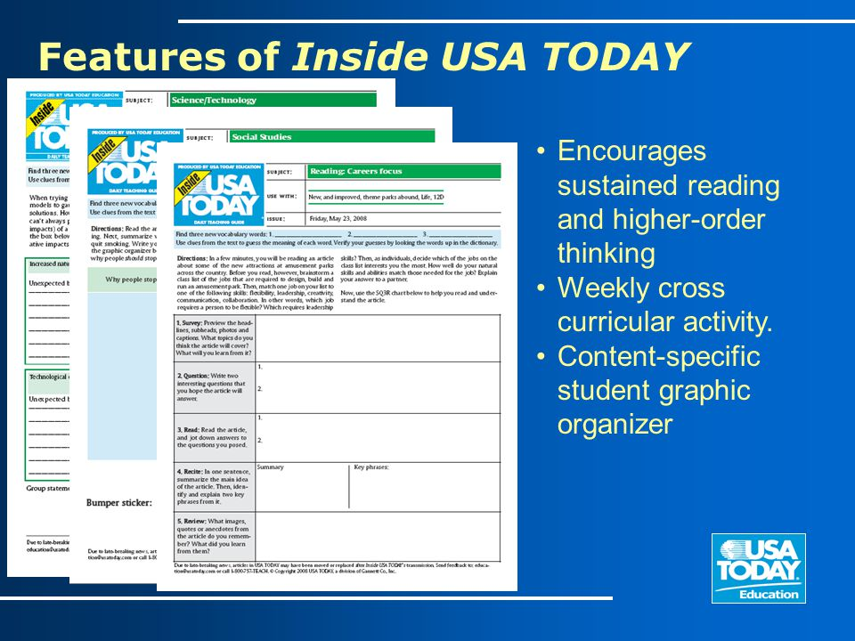 Encourages sustained reading and higher-order thinking Weekly cross curricular activity. Content-specific student graphic organizer Features of Inside