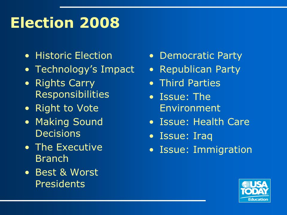 Election 2008 Historic Election Technology's Impact Rights Carry Responsibilities Right to Vote Making Sound Decisions The Executive Branch Best & Wor