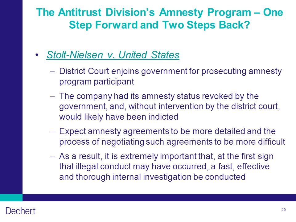 35 The Antitrust Division's Amnesty Program – One Step Forward and Two Steps Back.