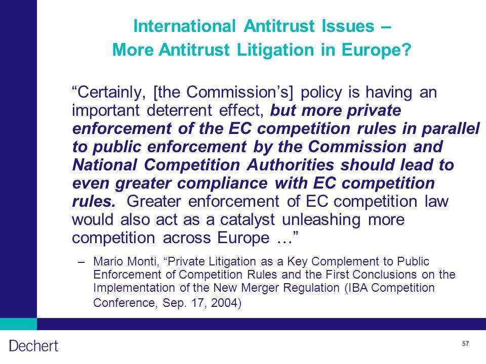 57 International Antitrust Issues – More Antitrust Litigation in Europe.