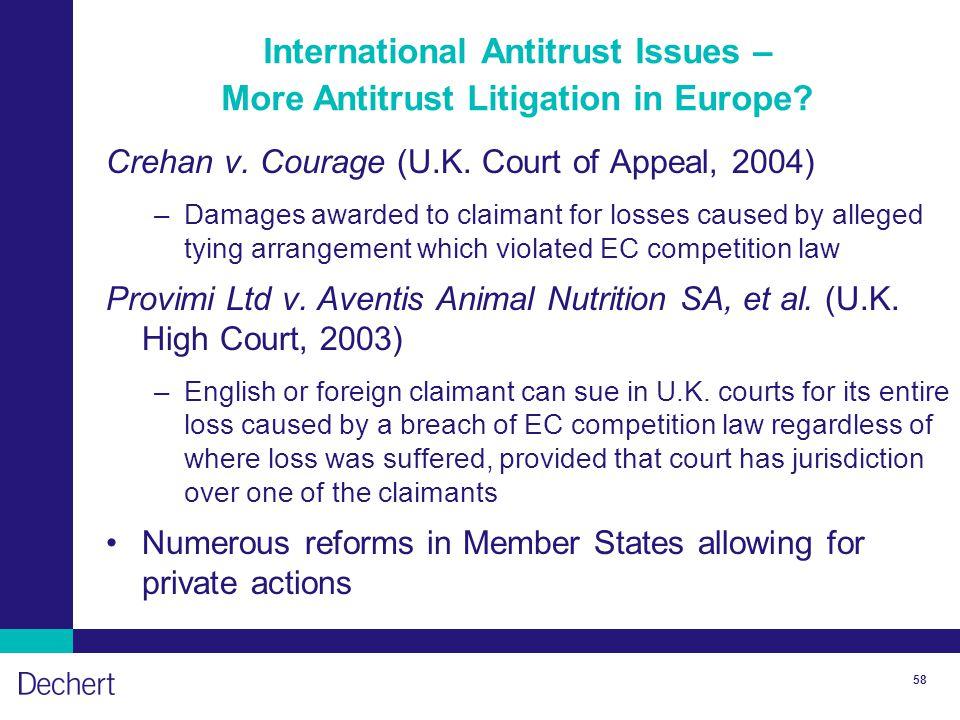 58 International Antitrust Issues – More Antitrust Litigation in Europe.