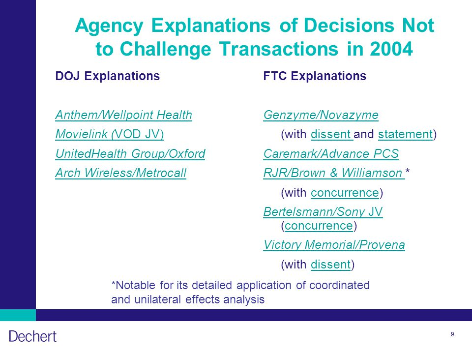 9 Agency Explanations of Decisions Not to Challenge Transactions in 2004 DOJ Explanations Anthem/Wellpoint Health Movielink (VOD JV) UnitedHealth Group/Oxford Arch Wireless/Metrocall FTC Explanations Genzyme/Novazyme (with dissent and statement)dissent statement Caremark/Advance PCS RJR/Brown & Williamson RJR/Brown & Williamson * (with concurrence)concurrence Bertelsmann/Sony JV Bertelsmann/Sony JV (concurrence)concurrence Victory Memorial/Provena (with dissent)dissent *Notable for its detailed application of coordinated and unilateral effects analysis